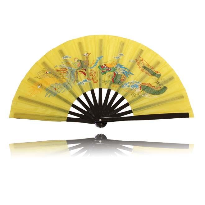 Tai Chi Fächer Gelb mit Drache Phoenix