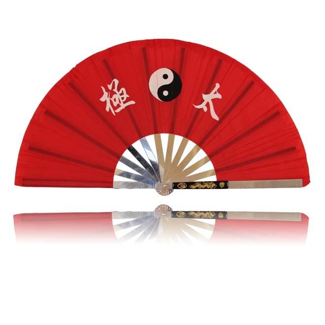 Kung Fu Fächer, rot mit Tai Chi Zeichen