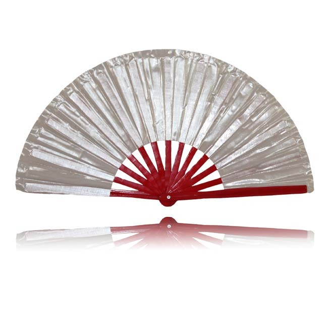 Tai Chi Fächer Silber/ Rot