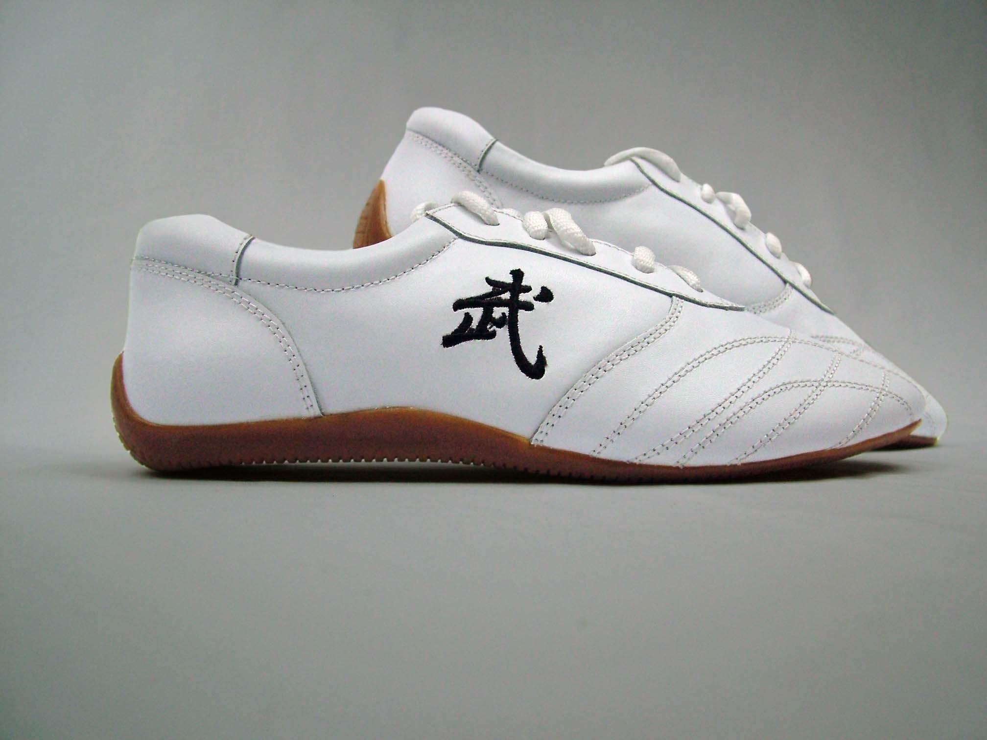 Kung Fu Schuhe aus echtem Leder, weiß