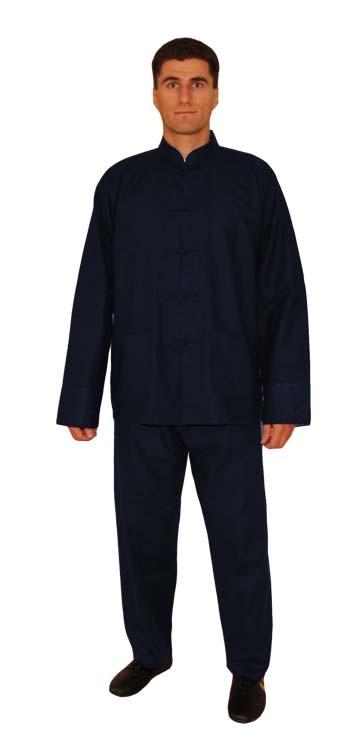Tai Chi Anzug aus Leinen, dunkelblau