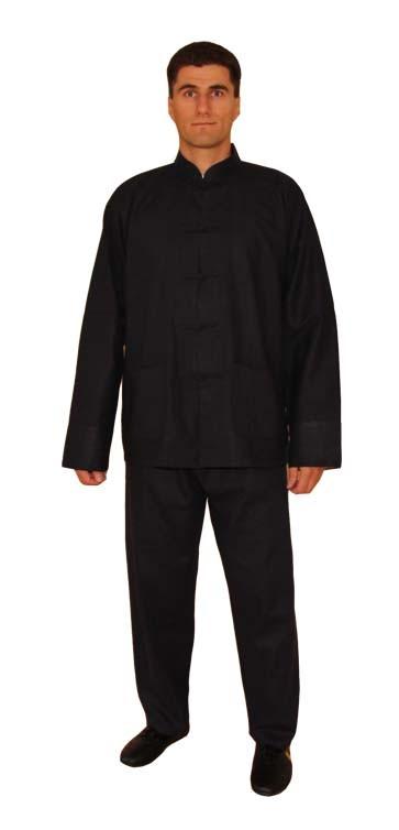 Tai Chi Anzug aus Leinen, schwarz