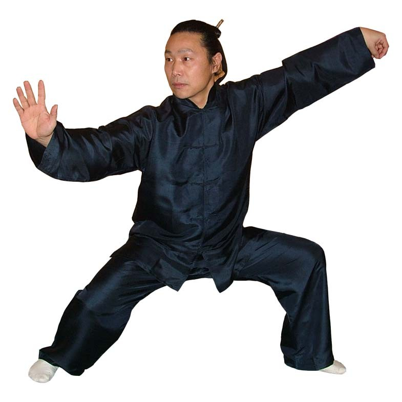 Tai Chi aus reiner Seide, dunkelblau