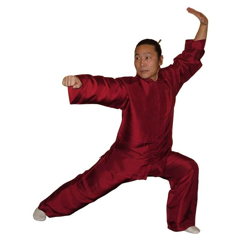 Tai Chi Anzug aus reiner Seide, weinrot