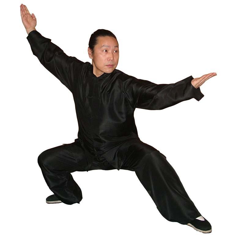 Tai Chi aus reiner Seide, schwarz