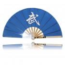 Kung Fu Fächer, blau mit Budo Zeichen