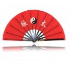 Kung Fu Fächer, rot mit Tai Chi Zeichen Aluminium
